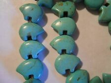 20 dyed/stabilized ZUNI BEAR blue TURQUOISE MAGNESITE 13x18mm STONE BEADS