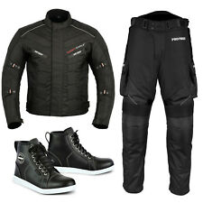 Motorbike Suit Men Waterproof Textile Jacket Trouser Motorcycle Shoes Biker Boot