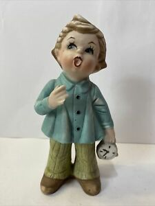 Vintage Collectible Ceramic Figurine Boy With Clock 16cm High