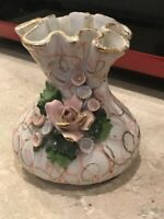 """Lefton China Vase #50439  Hand Painted  Pink and White  4"""" tall"""