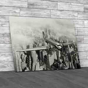 Douglas Dc 3 Over New York City Black White Canvas Print Large Picture Wall Art