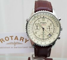 ROTARY Mens watch Cream dial Chronograph Brown leather strap RRP £190 Boxed
