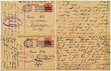 Belgio ww1 Cancelleria OCCUPAZIONE opta... CENSORI 4 + 18 a Nels diedenhofen 1916