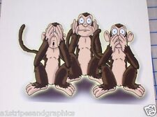 Hear See no Evil Monkey decal funny Window  Wall Decal Decals Stickers Graphics