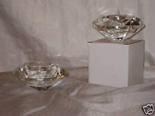 Crystal Diamond Cut  Tea Light Holders (SET OF 2)  Tea Lights Included