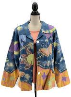 Indigo Moon Womens Jacket & TShirt 2pc Set Blue Plus Size 1X Butterfly Tie Dye