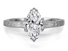 Marquise Diamond Solitaire Wheat Engraved Engagement Ring 14k White Gold