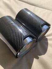 A Pair Of Genuine BMW Exhaust Tailpipe Trim Tip End Carbon Fibre 2 Series.
