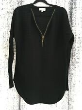 Size 12 Apricot Black Ribbed Long Sleeve Longer Length Jumper With Zip