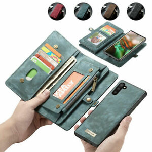 Removable Wallet Case For Samsung Note20 Ultra 10+ 9 8 Leather Pocket Flip Cover
