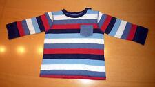 Langarmshirt dunkelblau-hellblau-rot-weiß-gestreift, Gr. 80, sehr guter Zustand