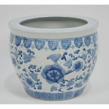 Large Vintage Hand Painted Chinese Blue White Porcelain Jardiniere Planter Bowl