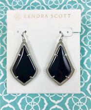 New Kendra Scott Alex Black Opaque Silver tone Earrings