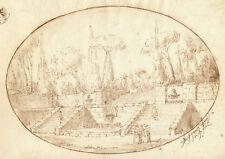 Paesaggio Neoclassico MAESTRO DEL RICCIOLO GIUSEPPE LATINI - Disegno a China