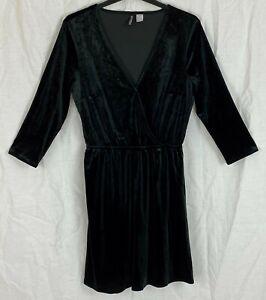 H&M Womens Black Velvet Dress Size 12