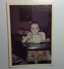 Vintage 70s PHOTO Brown Eyed Baby In High Chair Booster Seat Using Spoon To Eat