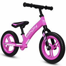 "12"" Kids Balance Bike No-Pedal Learn To Ride Bike Adjustable Seat Gift Pink"