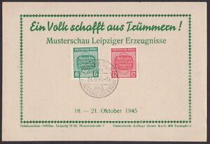 SBZ-1945:  Karte mit MiNr: 124-125 Stempel: Leipzig C1- 23.10.45 (cm)