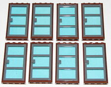 LEGO LOT OF 8 TRANSPARENT LIGHT BLUE GLASS REDDISH BROWN DOOR FRAME WINDOWS TOWN