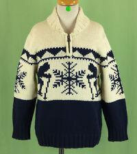 330 NWT GAP boy cardigan sweater half zip long sleeve ivory blue NEW Size 4-7Y