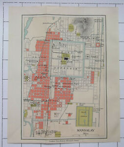 MANDALAY INDIA Antique 1909 Colour Folded Small Map Plan