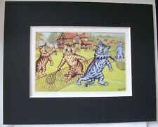 Cat Print Louis Wain Tennis Doubles Match Colored Bookplate 1983 8x10 Matted