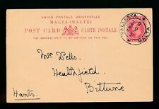 MALTA KE7 STATIONERY CARD 1910 to BITTERNE GB + MESSAGE