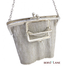 VINTAGE English STERLING SILVER Mesh CHATELAINE BAG with Built-in COIN PURSE