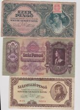 More details for eight different hungary banknotes 1913 to 1996 in very fine or better condition