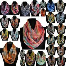 LoopSchal Seide Seidentuch Halstuch Tuch Schlauchschal Damen Farbverlauf Blumen