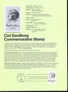 USPS 1978 First Day Issue Souvenir Page, Carl Sandburg