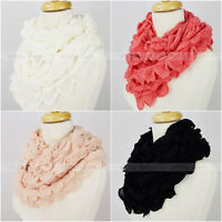 Solid Color Knit Infinity Winter Scarf Elastic Warm Bubble Fringe Circle Loop