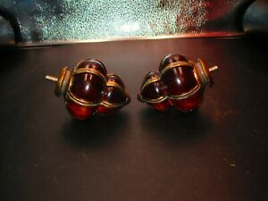 Vintage Glass & Brass Amber with Swirl Finials