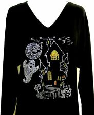SMALL Top Halloween Rhinestone Embellished Haunted Ghost Ghoul Bats House