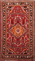 Excellent Vintage Traditional Floral Area Rug Handmade Wool Oriental Carpet 4x5
