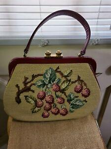 Vintage 1950 1960 Beige Floral Needlepoint Embroidery Tapestry Carpet Bag Purse