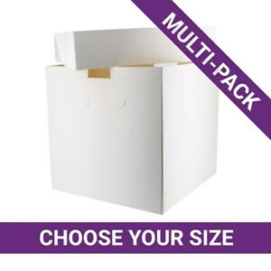 """Tall Lid High Boxes for Cakes ideal for transporting decorate pack 10"""" by 10"""" UK"""