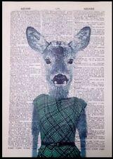 Vintage Deer Doe Print Dictionary Page Wall Art Picture Green Tartan Dress Lady