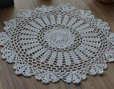"""16"""" Round White Hand Crochet Doily Victorian Country Centerpiece Wedding"""