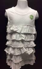 BURTS BEES Toddler Girls 2T White Tiered Ruffle Organic Cotton Knit Dress