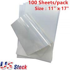 "USA 100 Sheets Premium Waterproof Inkjet Milky Transparency Film 11"" x 17"""