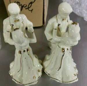 Dancing Bride & Groom Wedding Couple Porcelain Cake Topper- Gold Accents **NEW**