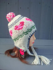 Monsoon Accessorize Ladies Cream Knitted Bobble Trapper Hat heart design Gift