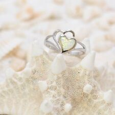 VERY PRETTY WHITE HEART OPAL  RING ALL Genuine Sterling Silver Size 8