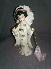VINTAGE ASIAN GEISHA GIRL W/ PINK SPAGHETTI POODLE FIGURINES JAPAN