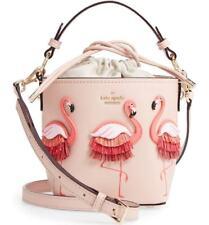 kate spade BY THE POOL Flamingo Pippa Leather warm vellum BUCKET BAG handbag