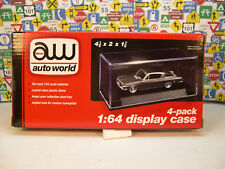 4 PACK DISPLAY CASES BY AUTO WORLD FOR 1:64 SCALE DIECAST MODEL CARS