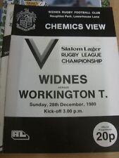 28/12/1980 programma Rugby League: Widnes V workington CITTA' (cambiamenti del team)