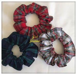 Royal Stewart Tartan Hair Scrunchies Red Green Elastic Band Ponytail Bow Tie