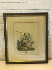 Antique 1812 Etching Print Anglo Saxon Military Chief Trumpeter and Warriors